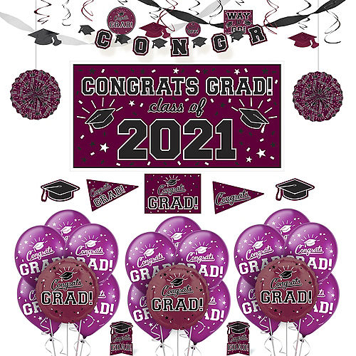 Congrats Grad Berry Graduation Deluxe Decorating Kit with Balloons Image #1