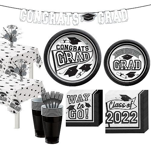 Congrats Grad White Graduation Party Kit for 36 Guests Image #1
