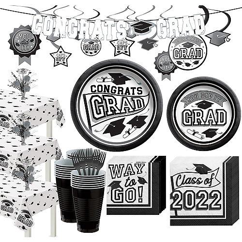Super Congrats Grad White Graduation Party Kit for 54 Guests Image #1