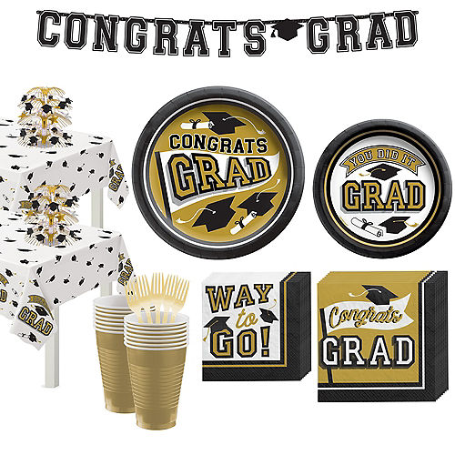 Congrats Grad Gold Graduation Party Kit for 36 Guests Image #1