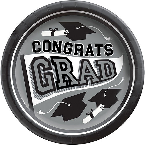 Congrats Grad Silver Graduation Party Kit for 36 Guests Image #3