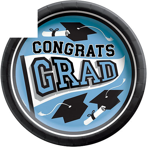 Congrats Grad Powder Blue Graduation Tableware Kit for 18 Guests Image #3