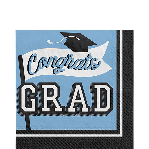Congrats Grad Powder Blue Graduation Tableware Kit for 18 Guests Image #5