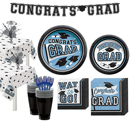 Congrats Grad Powder Blue Graduation Party Kit for 36 Guests Image #1