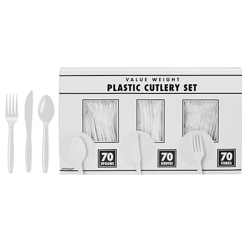 White & Berry Plastic Tableware Kit for 50 Guests Image #8