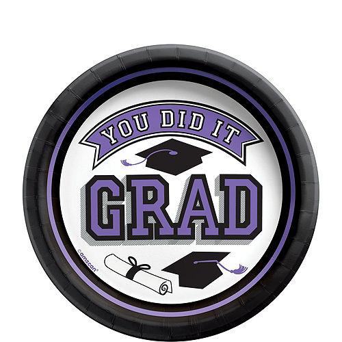 Congrats Grad Purple Graduation Tableware Kit for 18 Guests Image #2