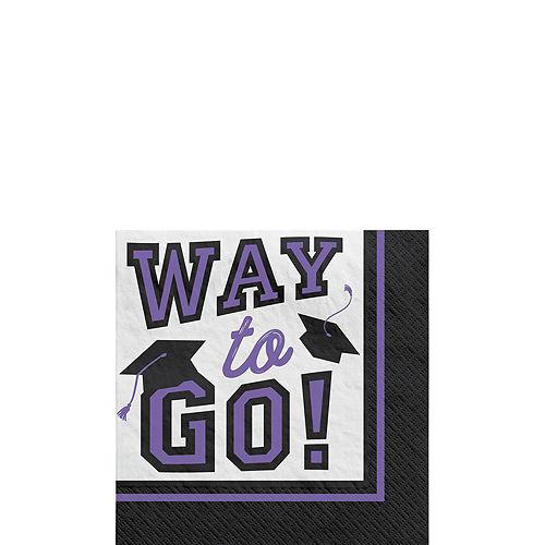 Congrats Grad Purple Graduation Tableware Kit for 18 Guests Image #4