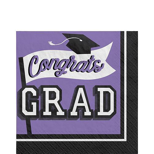 Congrats Grad Purple Graduation Tableware Kit for 18 Guests Image #5