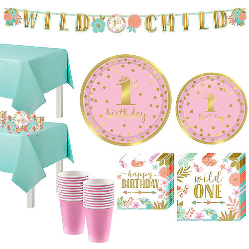 Boho Girl 1st Birthday Party Kit for 16 Guests Image #1