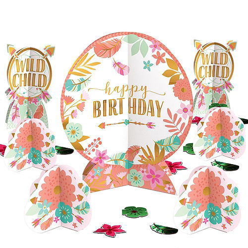 Boho Girl 1st Birthday Party Kit for 16 Guests Image #9