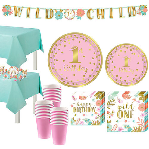 Boho Girl 1st Birthday Party Kit for 32 Guests Image #1