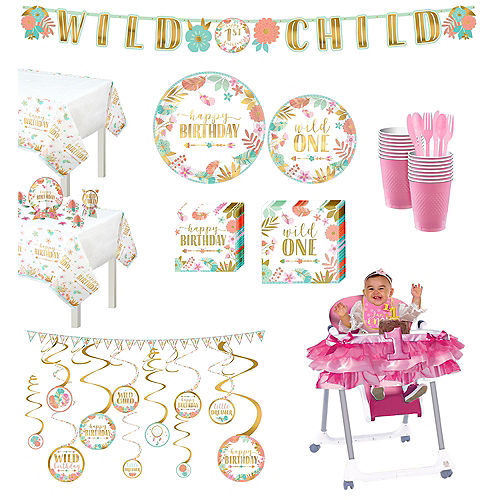 Ultimate Boho Girl 1st Birthday Party Kit for 32 Guests Image #1