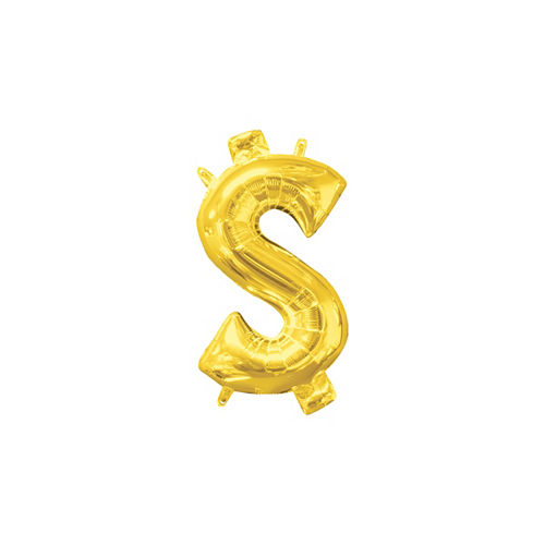 Air-Filled Gold Money Symbol Balloon Image #1