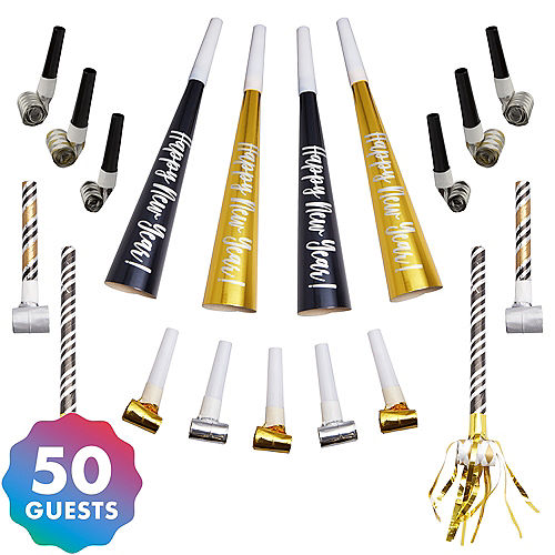 Black, Gold & Silver New Year's Eve Party Horns & Blowouts 50pc Image #1