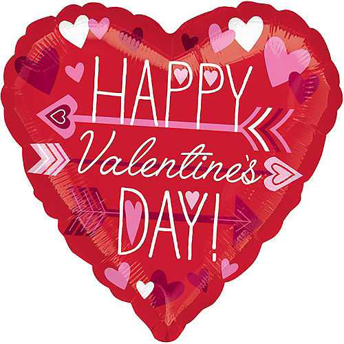 Red Happy Valentine's Day Heart Balloon, 17in Image #1