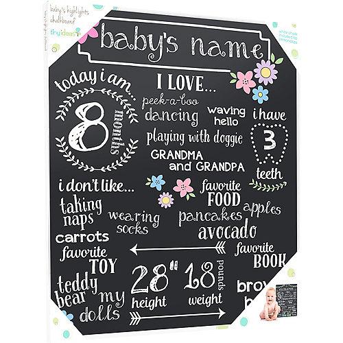 Baby Girl Milestones Chalkboard Sign Image #3