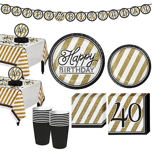 White & Gold Striped 40th Birthday Party Kit for 16 Guests Image #1