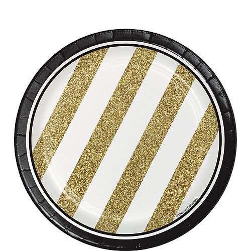 White & Gold Striped 40th Birthday Party Kit for 16 Guests Image #2