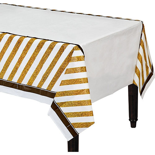 White & Gold Striped 40th Birthday Party Kit for 16 Guests Image #7