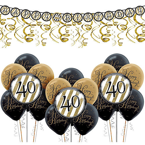 White & Gold Striped 40th Birthday Decorating Kit with Balloons Image #1