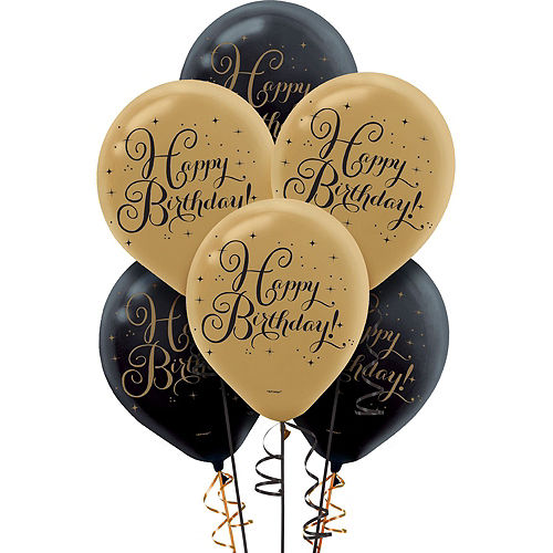 White & Gold Striped 40th Birthday Decorating Kit with Balloons Image #5