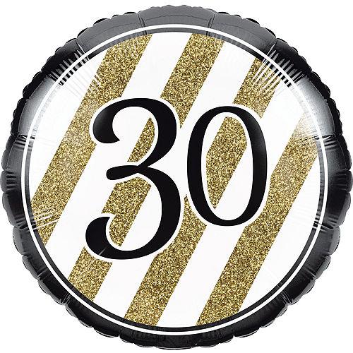 White & Gold Striped 30th Birthday Balloon Kit Image #4
