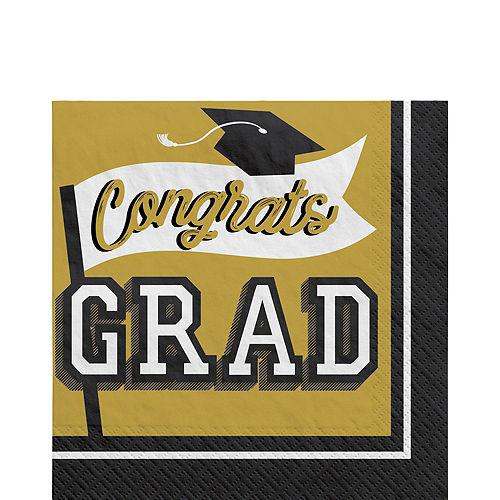 Super Congrats Grad Gold Graduation Party Kit for 54 Guests Image #5