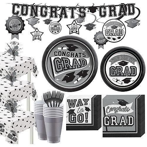 Super Congrats Grad Silver Graduation Party Kit for 54 Guests Image #1