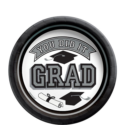 Super Congrats Grad Silver Graduation Party Kit for 54 Guests Image #2