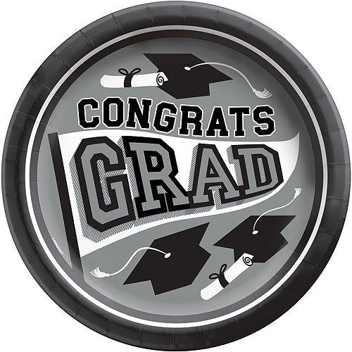 Super Congrats Grad Silver Graduation Party Kit for 54 Guests Image #3