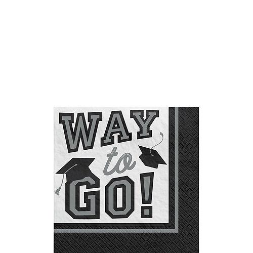 Super Congrats Grad Silver Graduation Party Kit for 54 Guests Image #4