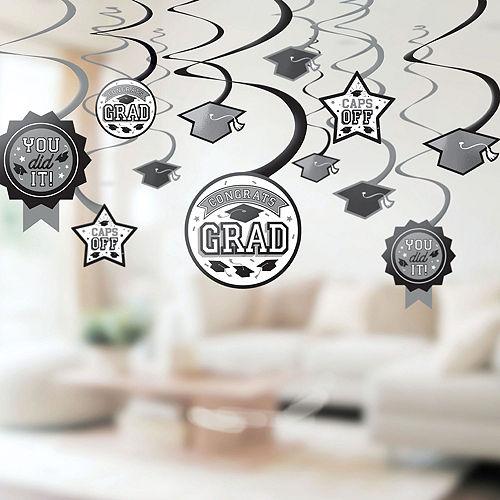 Super Congrats Grad Silver Graduation Party Kit for 54 Guests Image #8