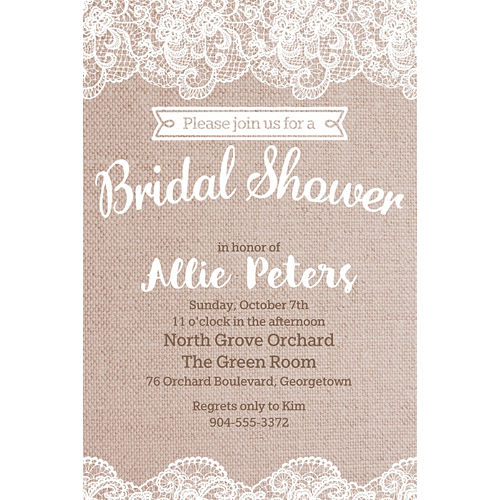 Custom Burlap & Lace Bridal Shower Invitations Image #1