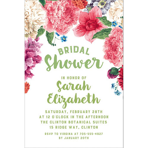 Custom Floral Border Bridal Shower Invitations Image #1