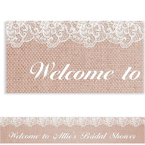 Custom Burlap & Lace Bridal Shower Banner Image #1