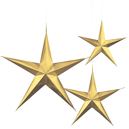 3D Gold Star Decorations 3ct Image #1
