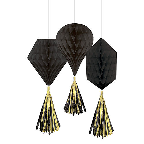 Mini Black Honeycomb Decorations with Tails 3ct Image #1