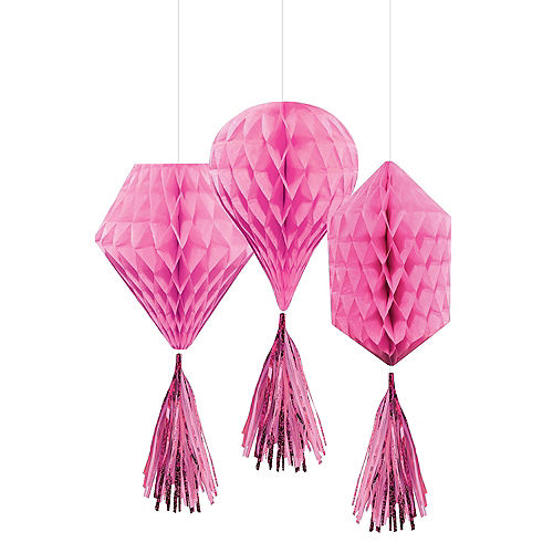 Mini Bright Pink Honeycomb Decorations with Tails 3ct Image #1
