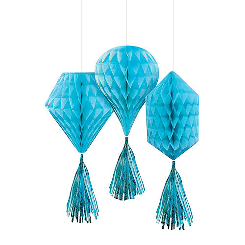 Mini Caribbean Blue Honeycomb Decorations with Tails 3ct Image #1