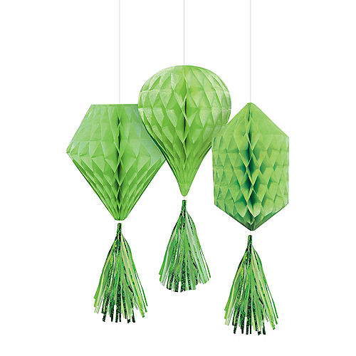 Mini Kiwi Green Honeycomb Decorations with Tails 3ct Image #1