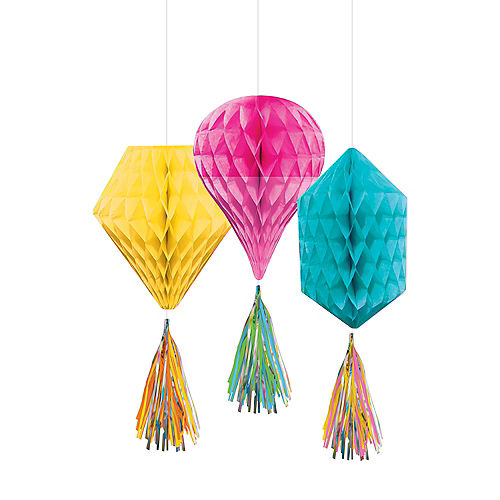 Mini Multi-Colored Honeycomb Decorations with Tails 3ct Image #1