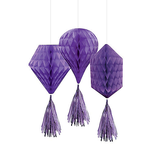Mini Purple Honeycomb Decorations with Tails 3ct Image #1