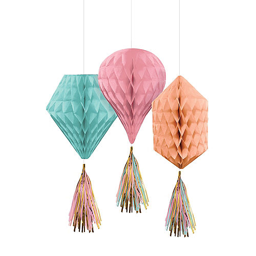 Mini Pastel & Gold Honeycomb Decorations with Tails 3ct Image #1