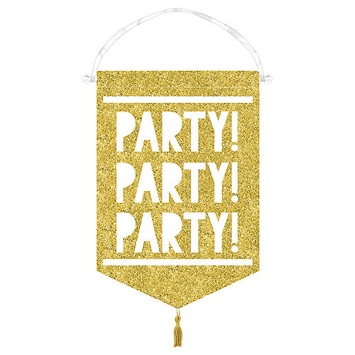 Glitter Gold Canvas Sign of the Times Party Sign Image #1