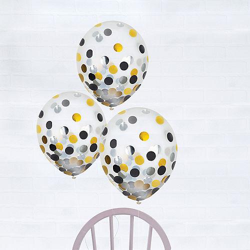 Black, Gold & Silver Confetti Balloons 6ct, 12in Image #1