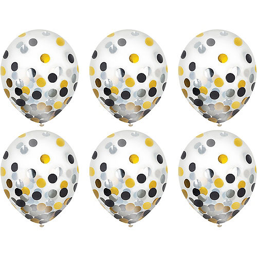 Black, Gold & Silver Confetti Balloons 6ct, 12in Image #2