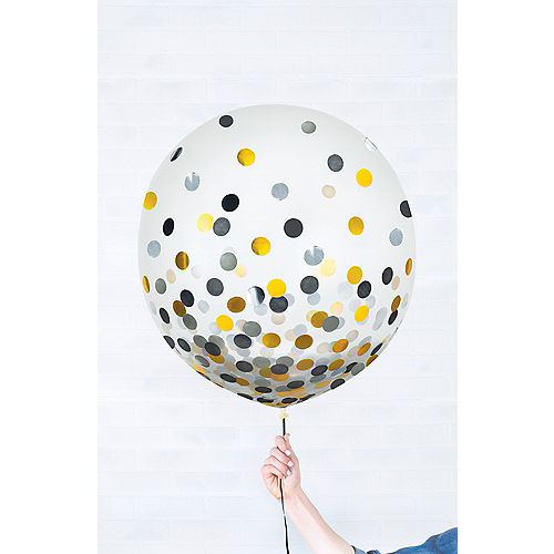 Round Gold & Silver Confetti Balloons 2ct, 24in Image #1