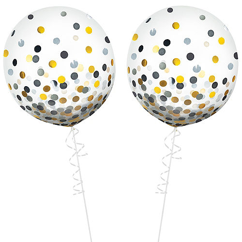 Round Gold & Silver Confetti Balloons 2ct, 24in Image #2