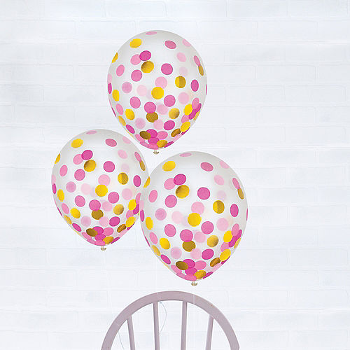 Gold & Pink Confetti Balloons 6ct, 12in Image #1