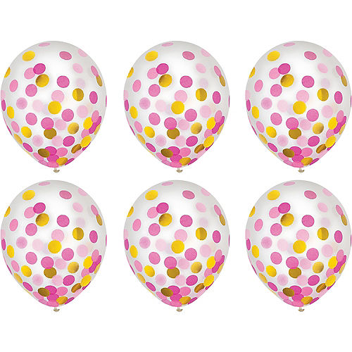 Gold & Pink Confetti Balloons 6ct, 12in Image #2